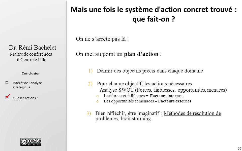 66 Dr. Rémi Bachelet Maître de conférences à Centrale Lille Conclusion Intérêt de lanalyse stratégique Quelles actions ? Mais une fois le système d'ac