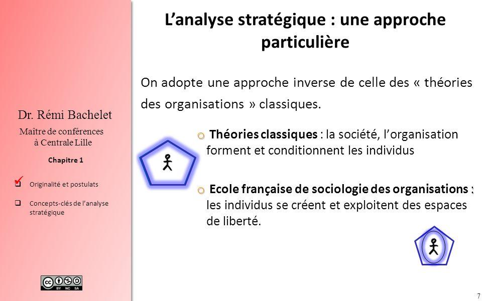 7 Chapitre 1 Dr. Rémi Bachelet Maître de conférences à Centrale Lille Originalité et postulats Concepts-clés de lanalyse stratégique On adopte une app
