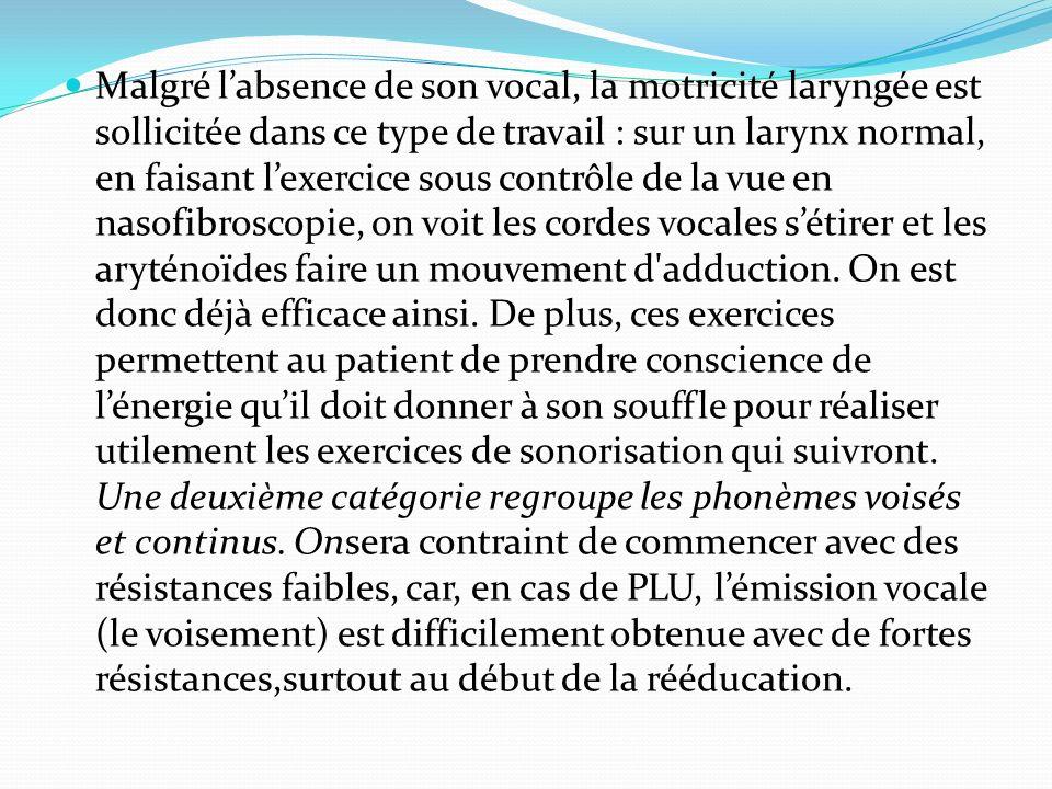 Malgré labsence de son vocal, la motricité laryngée est sollicitée dans ce type de travail : sur un larynx normal, en faisant lexercice sous contrôle