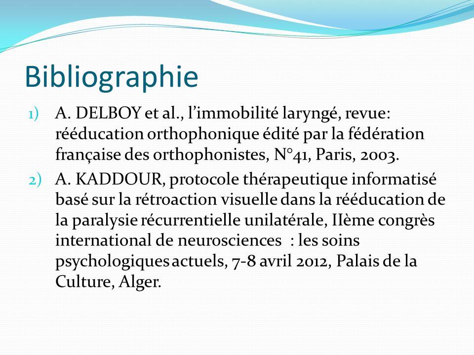 Bibliographie 1) A. DELBOY et al., limmobilité laryngé, revue: rééducation orthophonique édité par la fédération française des orthophonistes, N°41, P