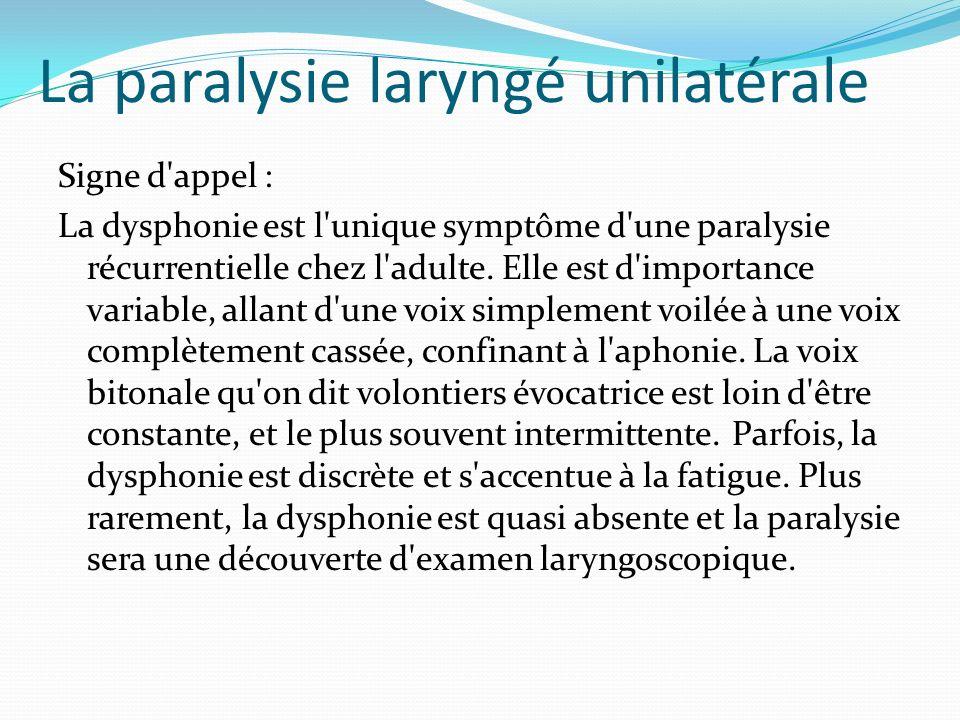La paralysie laryngé unilatérale Signe d'appel : La dysphonie est l'unique symptôme d'une paralysie récurrentielle chez l'adulte. Elle est d'importanc