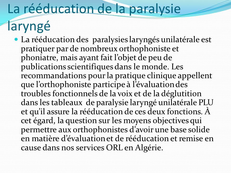 La rééducation de la paralysie laryngé La rééducation des paralysies laryngés unilatérale est pratiquer par de nombreux orthophoniste et phoniatre, ma