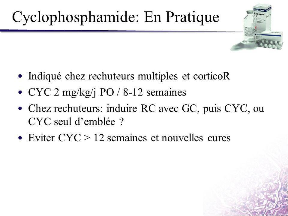 Cyclophosphamide: En Pratique Indiqué chez rechuteurs multiples et corticoR CYC 2 mg/kg/j PO / 8-12 semaines Chez rechuteurs: induire RC avec GC, puis
