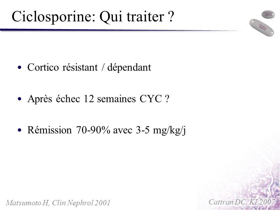 Ciclosporine: Qui traiter ? Cortico résistant / dépendant Après échec 12 semaines CYC ? Rémission 70-90% avec 3-5 mg/kg/j