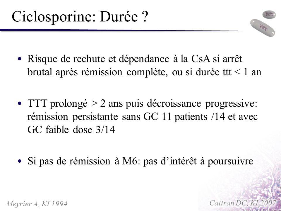 Ciclosporine: Durée ? Risque de rechute et dépendance à la CsA si arrêt brutal après rémission complète, ou si durée ttt < 1 an TTT prolongé > 2 ans p