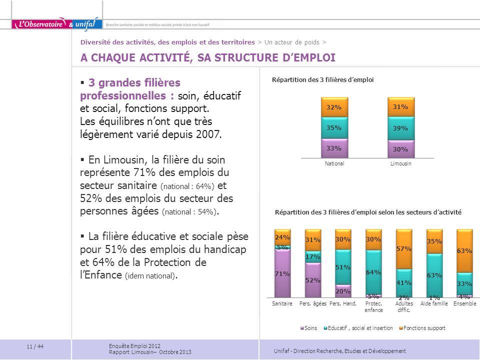 Unifaf - Direction Recherche, Etudes et Développement A CHAQUE ACTIVITÉ, SA STRUCTURE DEMPLOI 3 grandes filières professionnelles : soin, éducatif et