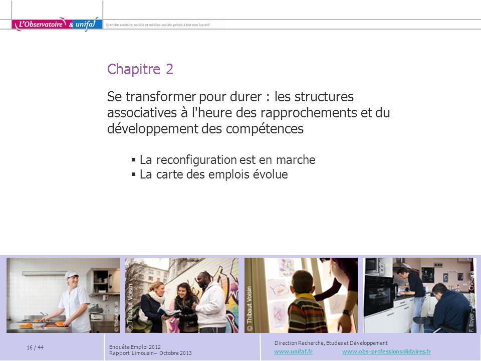 Chapitre 2 www.unifaf.fr www.obs-professionsolidaires.fr Direction Recherche, Etudes et Développement Se transformer pour durer : les structures assoc