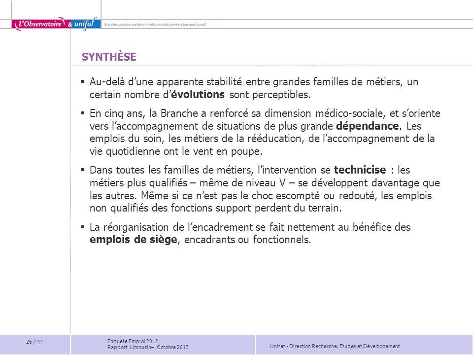 Unifaf - Direction Recherche, Etudes et Développement SYNTHÈSE Au-delà dune apparente stabilité entre grandes familles de métiers, un certain nombre d