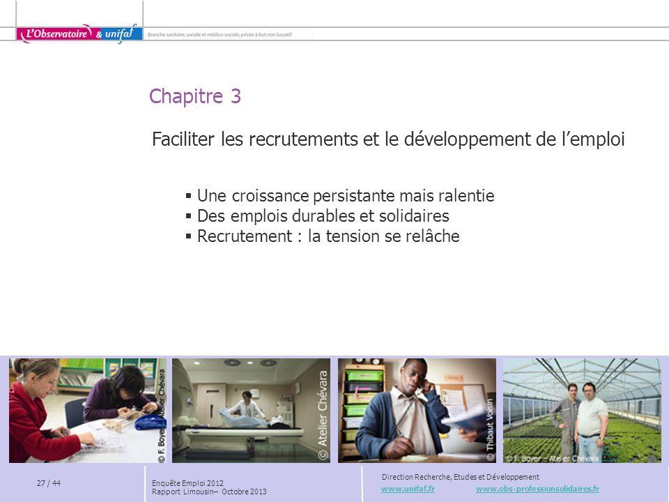www.unifaf.fr www.obs-professionsolidaires.fr Direction Recherche, Etudes et Développement Chapitre 3 27 / 44 Faciliter les recrutements et le dévelop