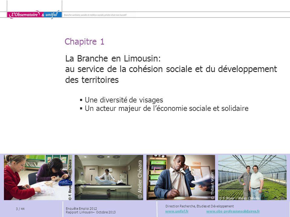 Chapitre 1 www.unifaf.fr www.obs-professionsolidaires.fr Direction Recherche, Etudes et Développement La Branche en Limousin: au service de la cohésio