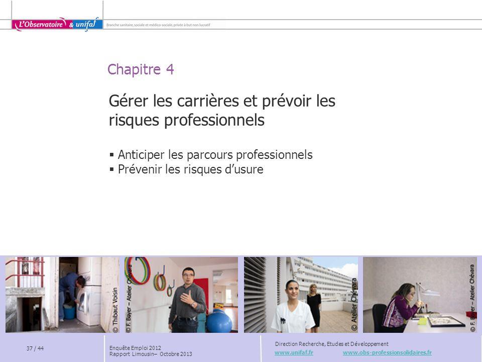 Chapitre 4 www.unifaf.fr www.obs-professionsolidaires.fr Direction Recherche, Etudes et Développement 37 / 44 Gérer les carrières et prévoir les risqu
