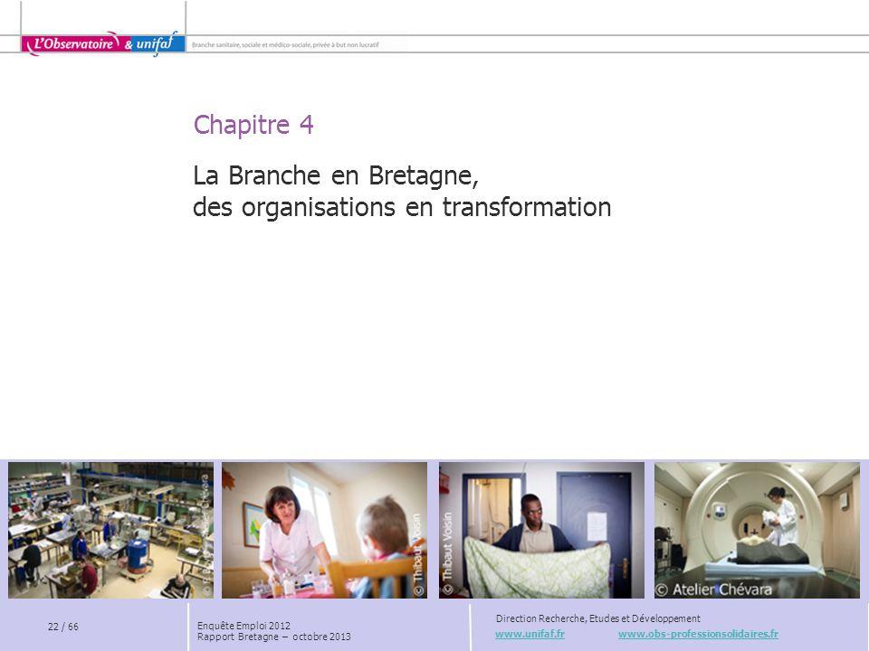 Chapitre 4 www.unifaf.fr www.obs-professionsolidaires.fr Direction Recherche, Etudes et Développement La Branche en Bretagne, des organisations en transformation 22 / 66 Enquête Emploi 2012 Rapport Bretagne – octobre 2013