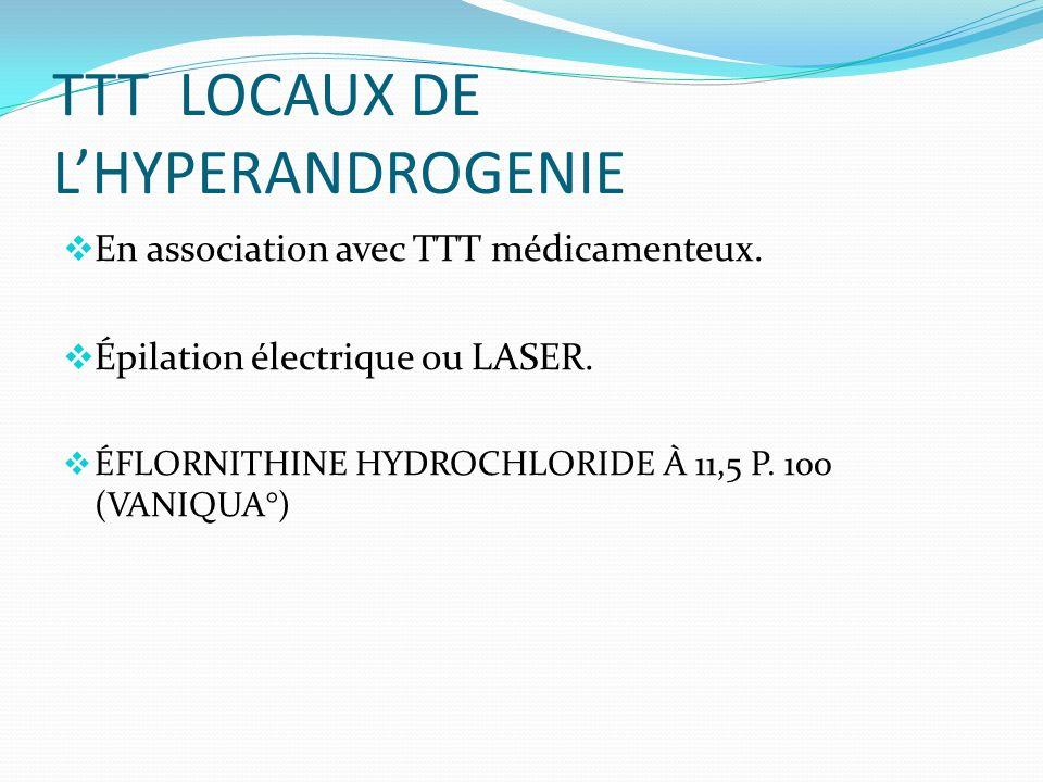 TTT LOCAUX DE LHYPERANDROGENIE En association avec TTT médicamenteux.