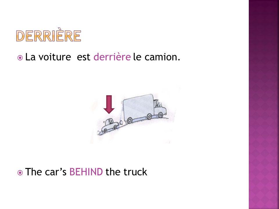 La voiture est derrière le camion. The cars BEHIND the truck