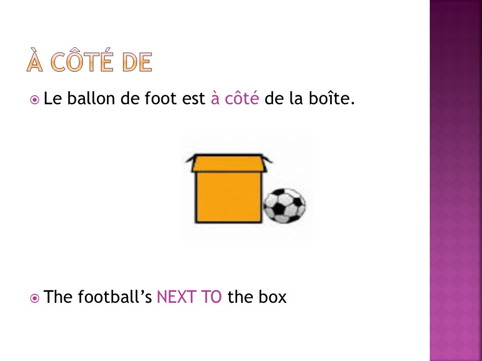 Le ballon de foot est à côté de la boîte. The footballs NEXT TO the box