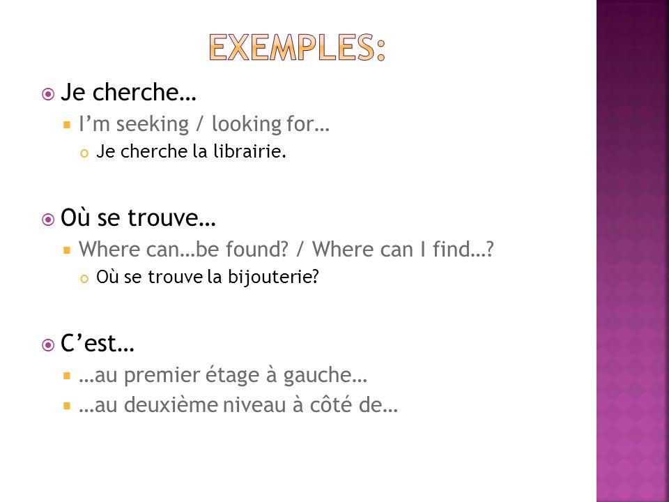 Je cherche… Im seeking / looking for… Je cherche la librairie.