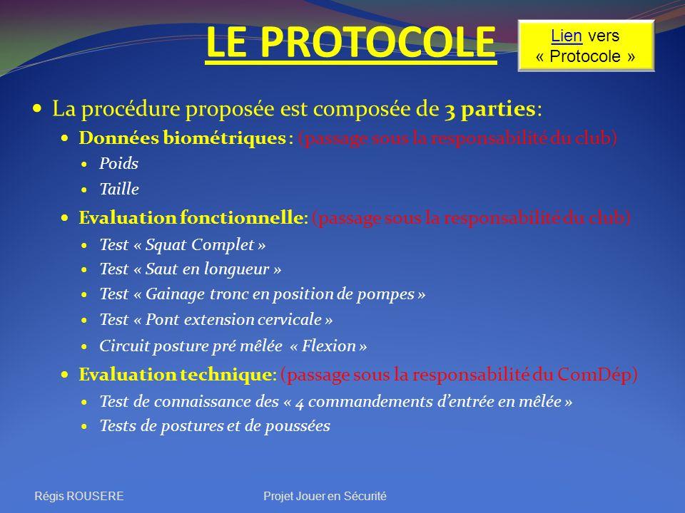 LE PROTOCOLE Régis ROUSEREProjet Jouer en Sécurité La procédure proposée est composée de 3 parties: Données biométriques : (passage sous la responsabi