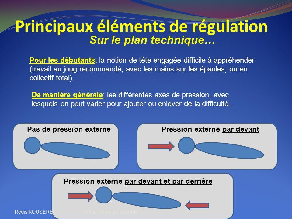 Principaux éléments de régulation Pour les débutants: la notion de tête engagée difficile à appréhender (travail au joug recommandé, avec les mains su