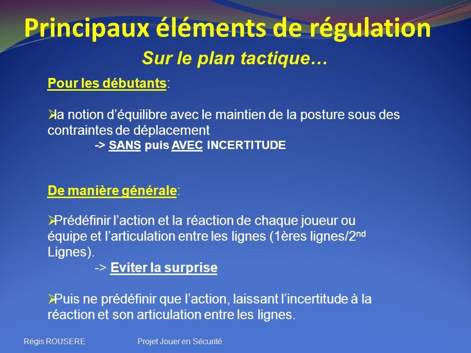 Principaux éléments de régulation Sur le plan tactique… Pour les débutants: la notion déquilibre avec le maintien de la posture sous des contraintes d