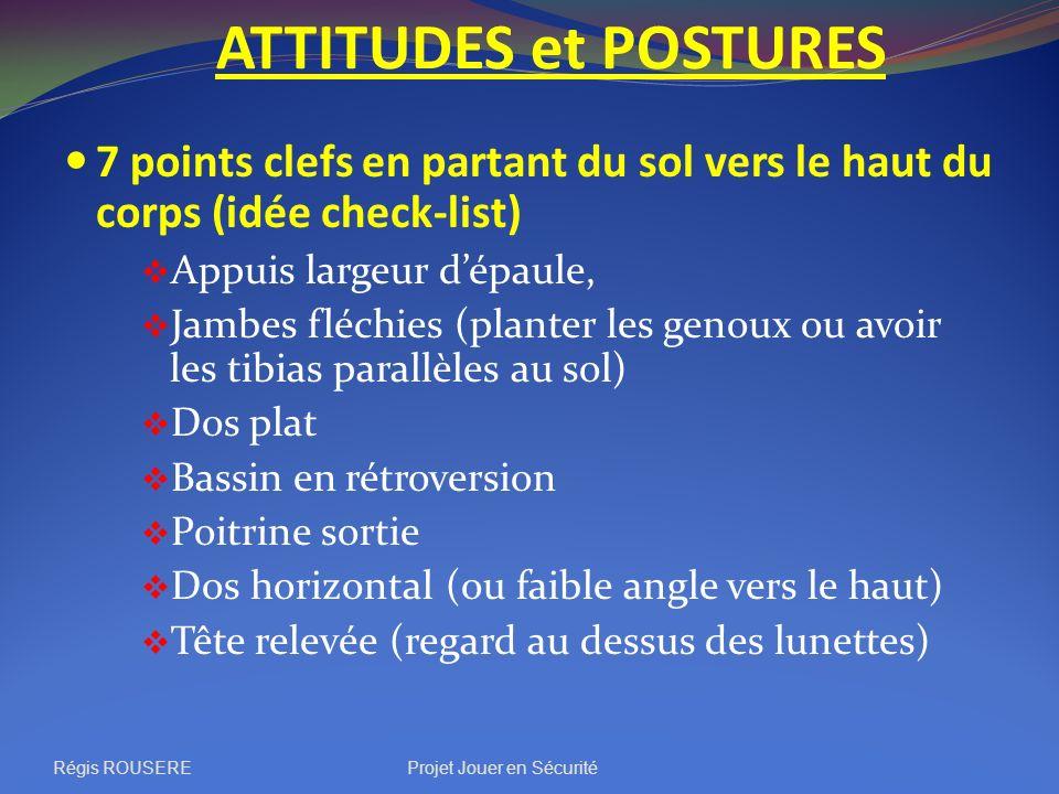 ATTITUDES et POSTURES 7 points clefs en partant du sol vers le haut du corps (idée check-list) Appuis largeur dépaule, Jambes fléchies (planter les ge
