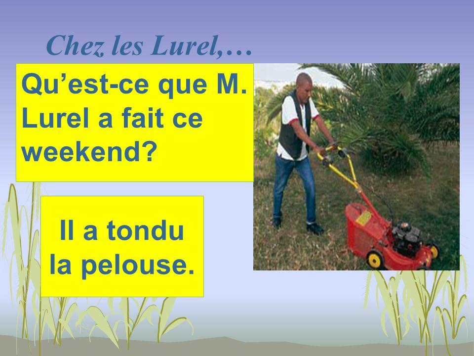 Chez les Lurel,… Il a tondu la pelouse. Quest-ce que M. Lurel a fait ce weekend?