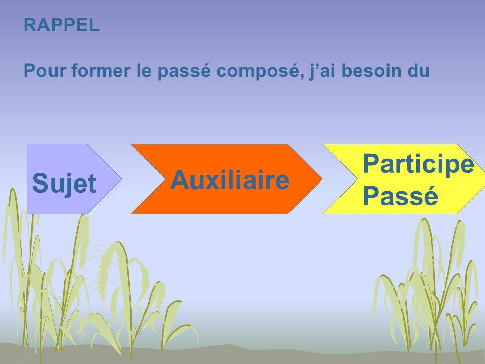 RAPPEL Pour former le passé composé, jai besoin du Sujet Auxiliaire Participe Passé
