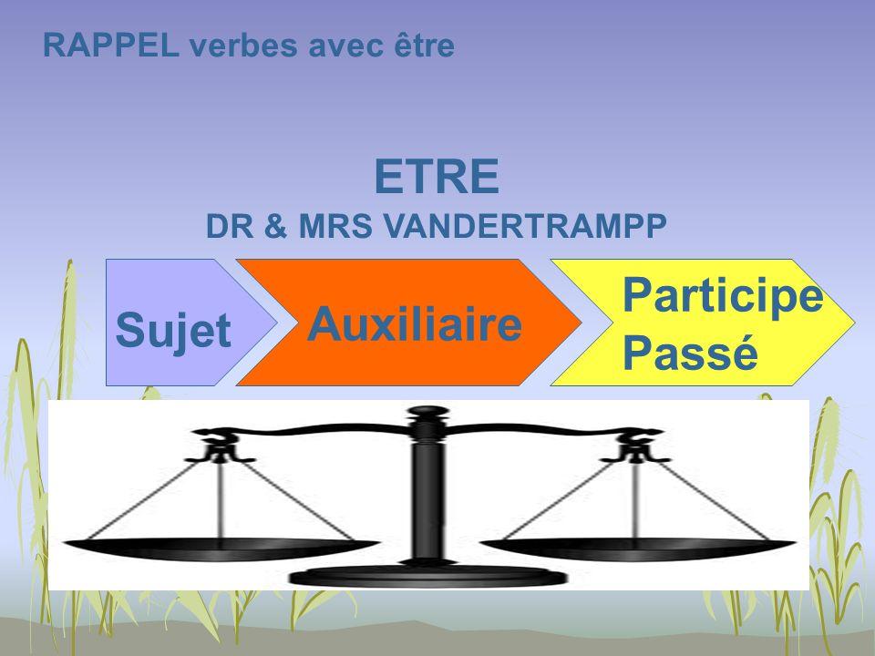 RAPPEL verbes avec être ETRE DR & MRS VANDERTRAMPP Sujet Auxiliaire Participe Passé