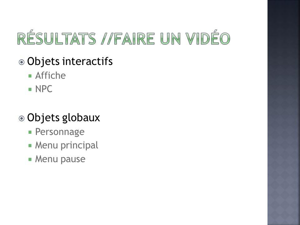 Objets interactifs Affiche NPC Objets globaux Personnage Menu principal Menu pause