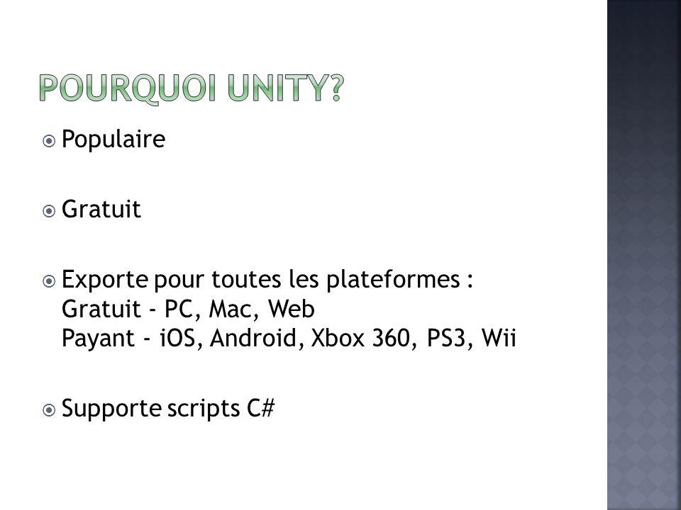 Populaire Gratuit Exporte pour toutes les plateformes : Gratuit - PC, Mac, Web Payant - iOS, Android, Xbox 360, PS3, Wii Supporte scripts C#
