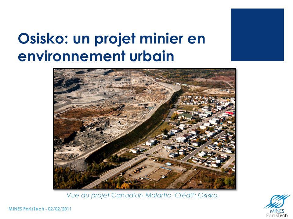 Osisko: un projet minier en environnement urbain MINES ParisTech - 02/02/2011 Vue du projet Canadian Malartic.