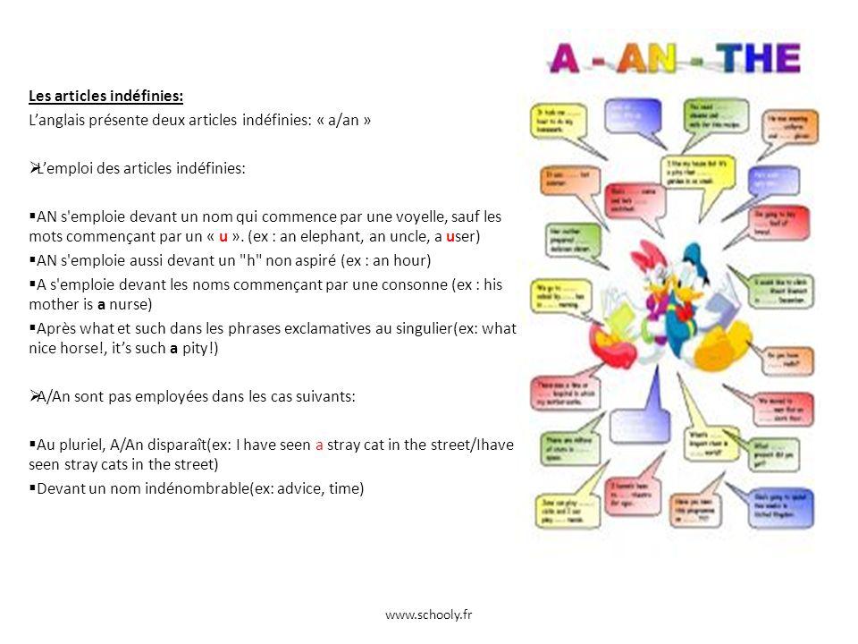 Les articles indéfinies: Langlais présente deux articles indéfinies: « a/an » Lemploi des articles indéfinies: AN s'emploie devant un nom qui commence