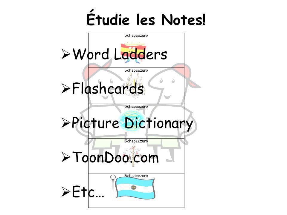 Étudie les Notes! Word Ladders Flashcards Picture Dictionary ToonDoo.com Etc… Schepeezuro