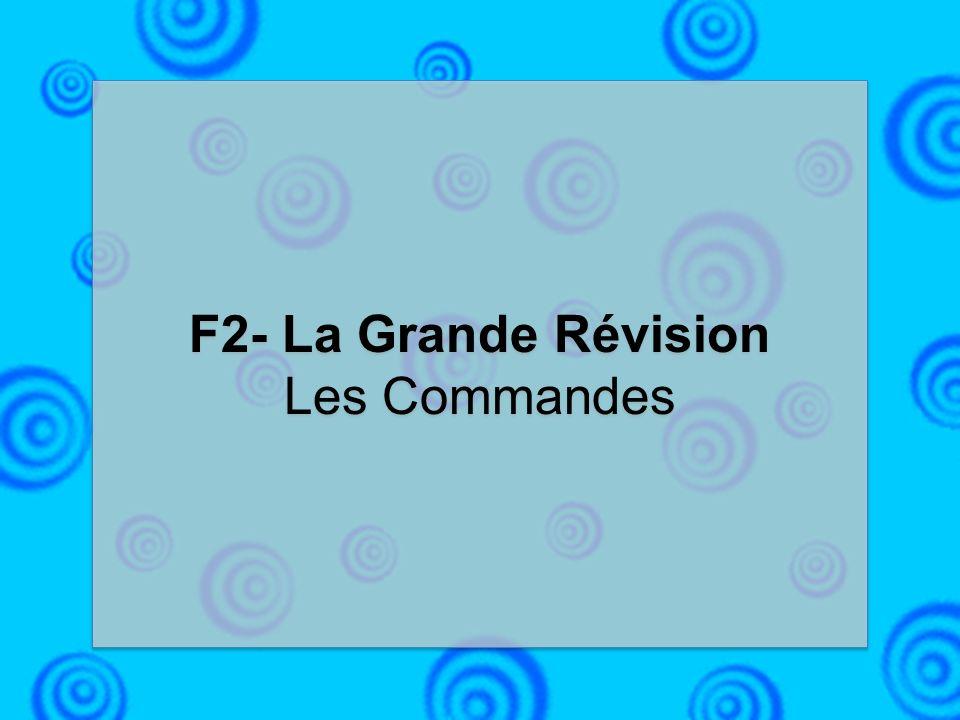 F2- La Grande Révision Les Commandes F2- La Grande Révision Les Commandes