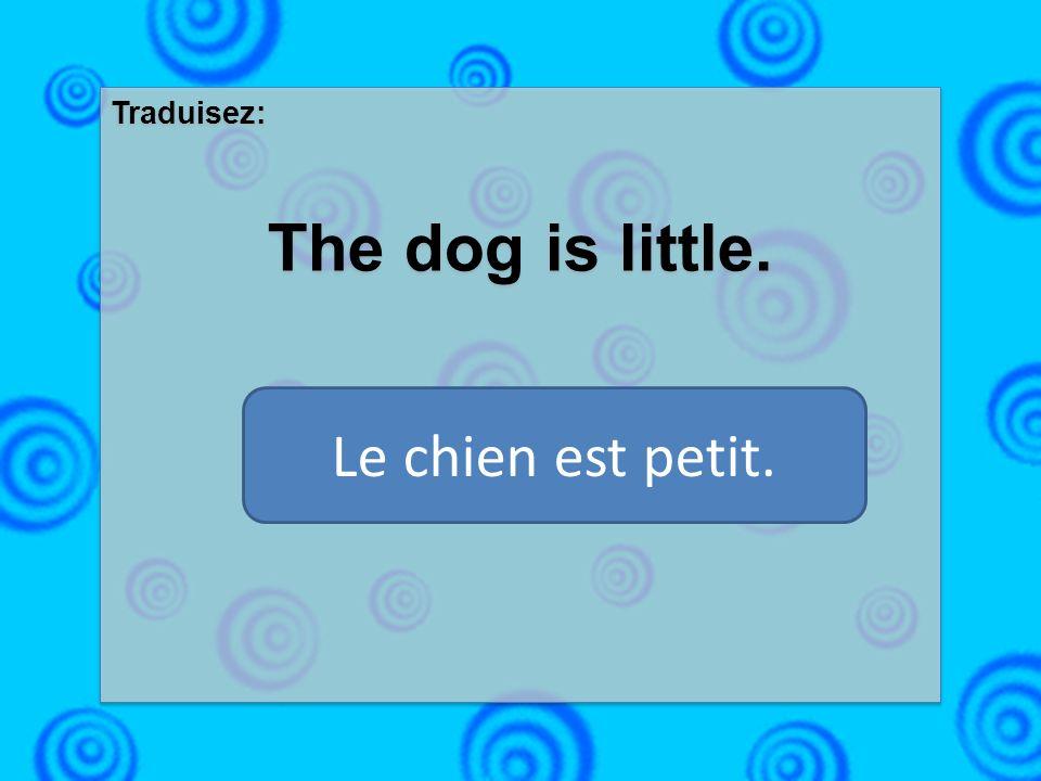 Traduisez: The dog is little. Traduisez: The dog is little. Le chien est petit.