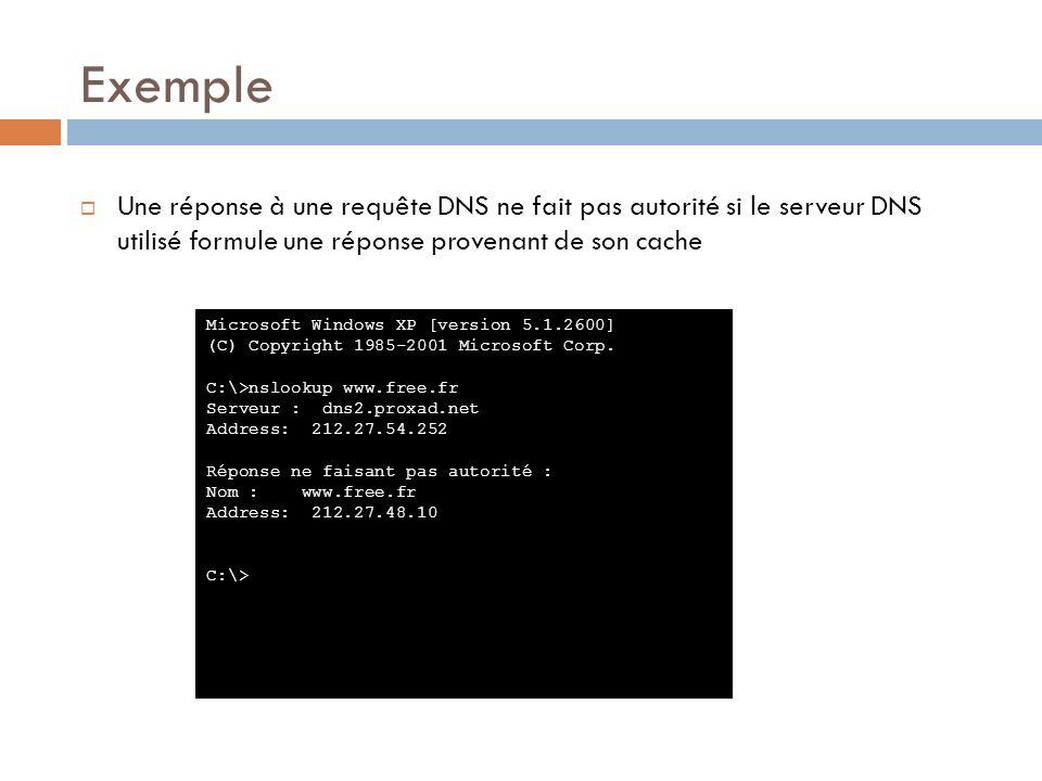 Exemple Une réponse à une requête DNS ne fait pas autorité si le serveur DNS utilisé formule une réponse provenant de son cache Microsoft Windows XP [