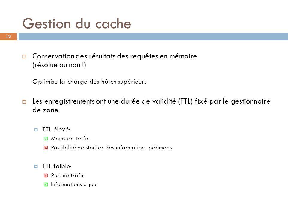13 Gestion du cache Conservation des résultats des requêtes en mémoire (résolue ou non !) Optimise la charge des hôtes supérieurs Les enregistrements
