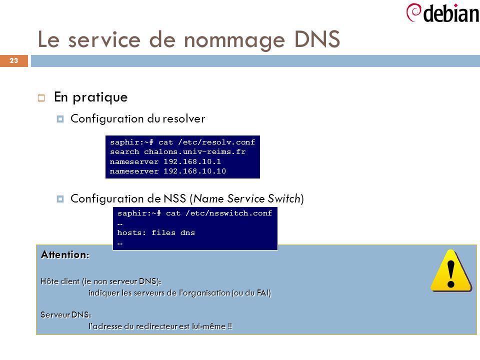 23 Le service de nommage DNS En pratique Configuration du resolver Configuration de NSS (Name Service Switch) Attention: Hôte client (ie non serveur DNS): indiquer les serveurs de lorganisation (ou du FAI) Serveur DNS: ladresse du redirecteur est lui-même !.