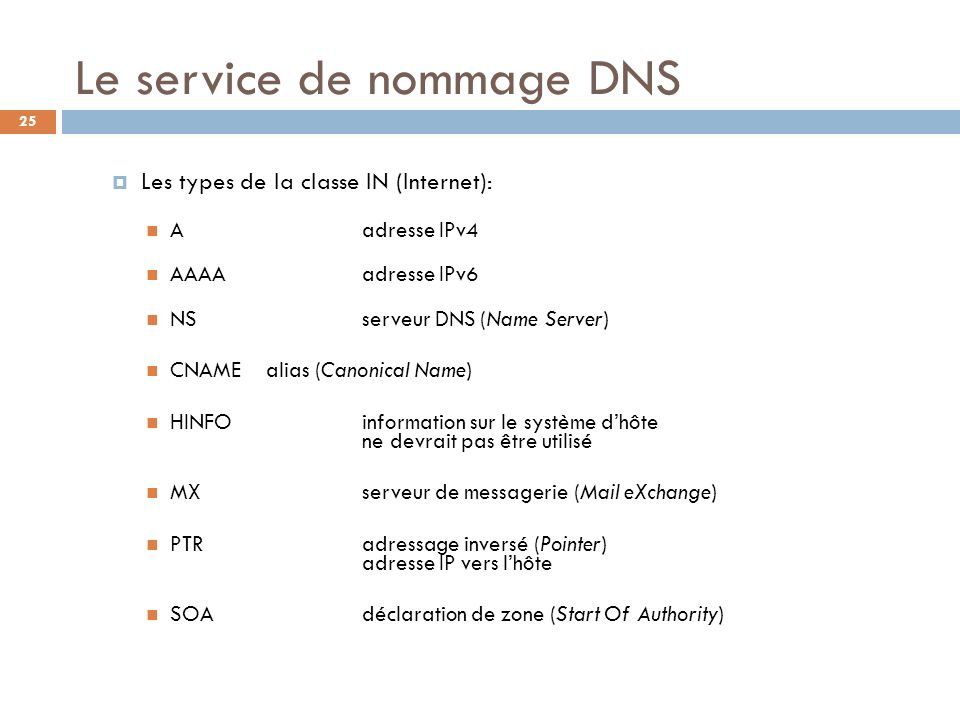 25 Le service de nommage DNS Les types de la classe IN (Internet): Aadresse IPv4 AAAAadresse IPv6 NSserveur DNS (Name Server) CNAMEalias (Canonical Na