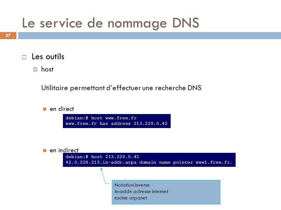 27 Le service de nommage DNS Les outils host Utilitaire permettant deffectuer une recherche DNS en direct en indirect debian:# host www.free.fr www.fr