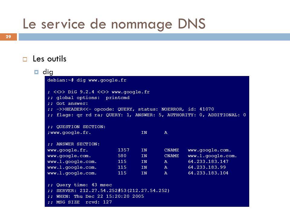 29 Le service de nommage DNS Les outils dig debian:~# dig www.google.fr ; > DiG 9.2.4 > www.google.fr ;; global options: printcmd ;; Got answer: ;; ->