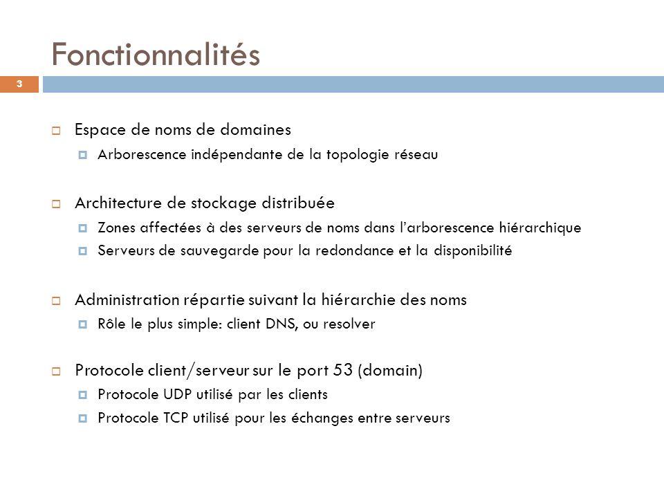 3 Fonctionnalités Espace de noms de domaines Arborescence indépendante de la topologie réseau Architecture de stockage distribuée Zones affectées à de