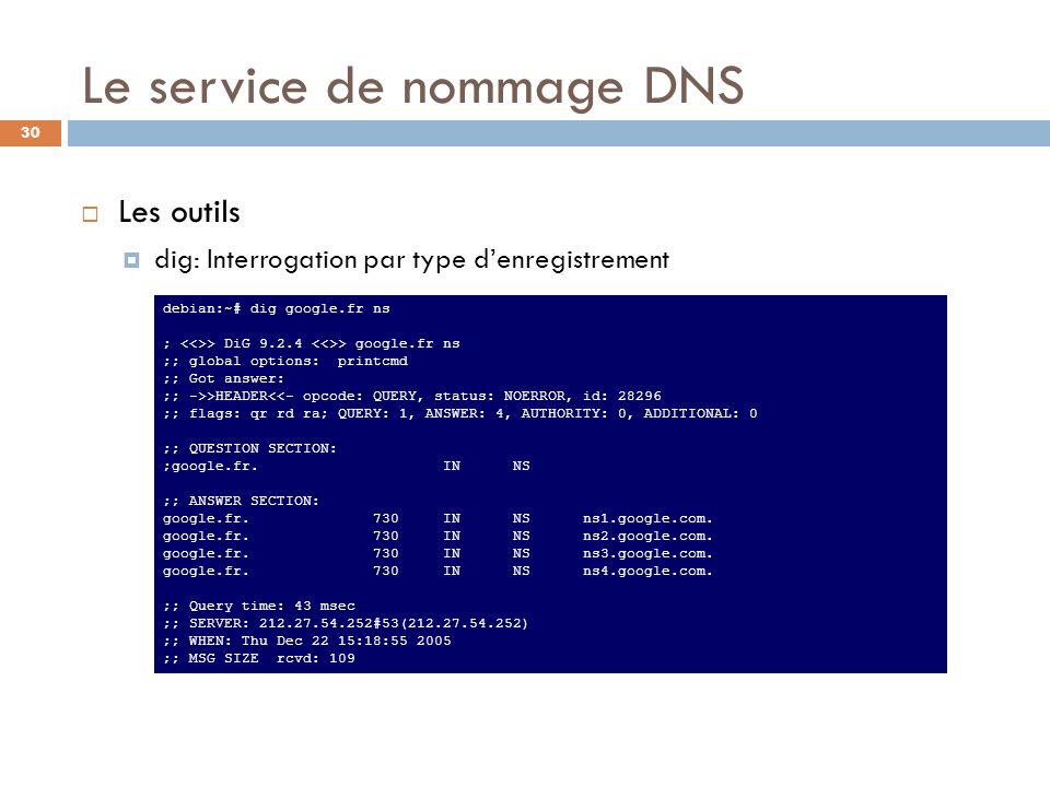 30 debian:~# dig google.fr soa ; > DiG 9.2.4 > google.fr soa ;; global options: printcmd ;; Got answer: ;; ->>HEADER<<- opcode: QUERY, status: NOERROR