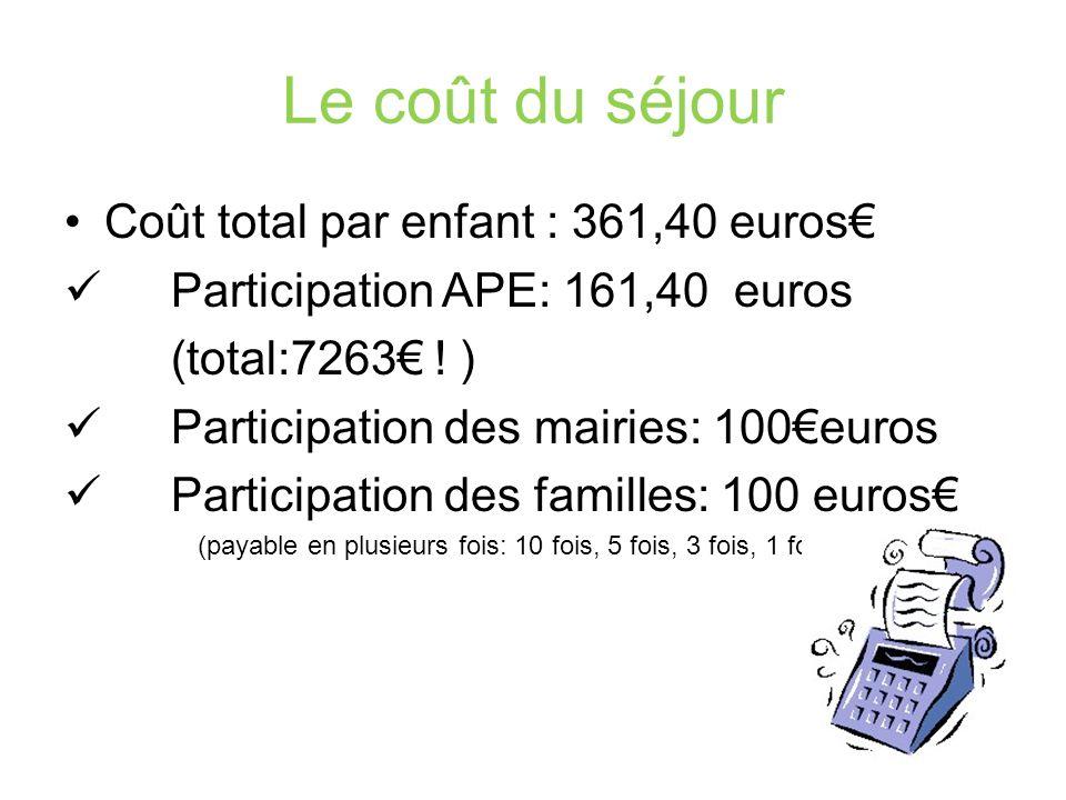 Le coût du séjour Coût total par enfant : 361,40 euros Participation APE: 161,40 euros (total:7263 .