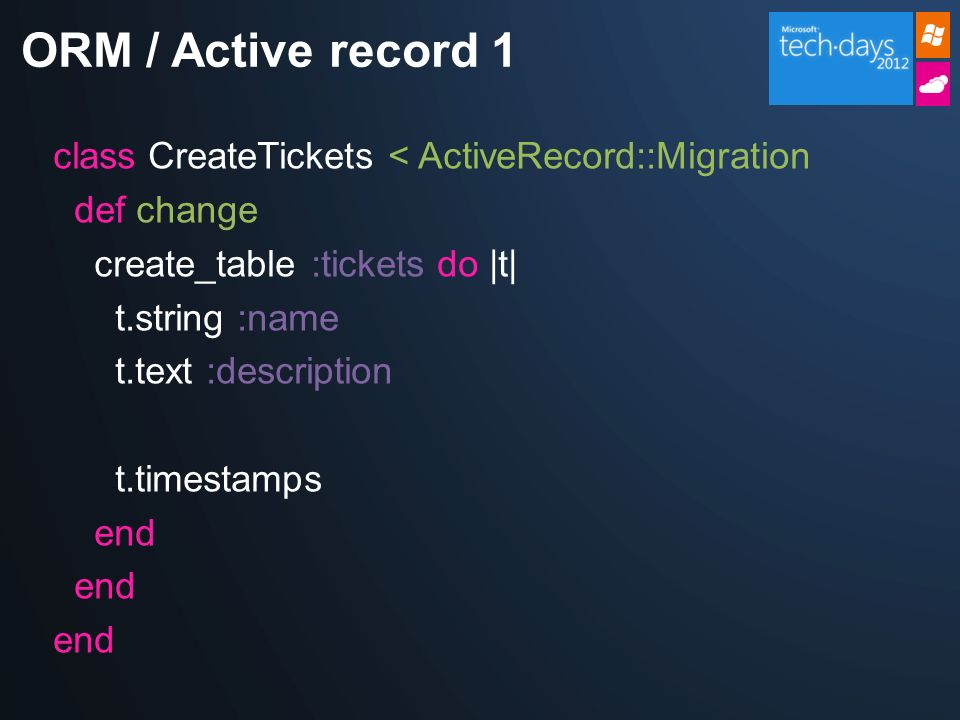 class CreateTickets < ActiveRecord::Migration def change create_table :tickets do |t| t.string :name t.text :description t.timestamps end ORM / Active record 1