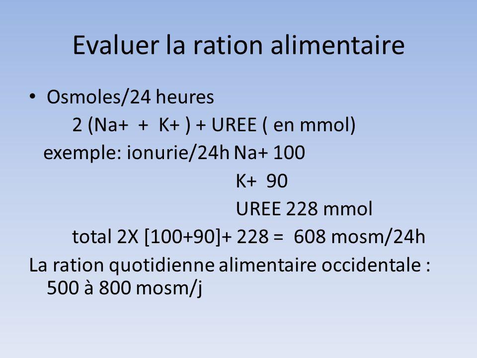 Evaluation ration alimentaire Ration quotidienne en protéines(g/kg/j) Urée urinaire (mmol/j) x 0.21/kg ex 228 mmole 228x0.21= 47 47/50kg=0.94g/kg/j Objectif < 1.2 g/kg/j