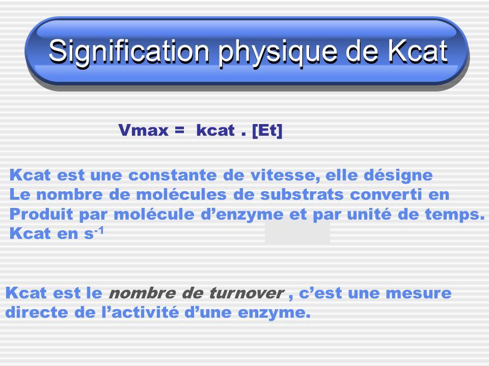 Signification physique de Kcat Vmax = kcat. [Et] Kcat est une constante de vitesse, elle désigne Le nombre de molécules de substrats converti en Produ