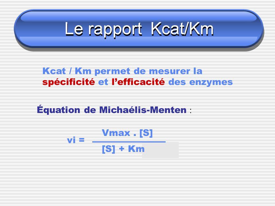 Le rapport Kcat/Km Kcat / Km permet de mesurer la spécificité et lefficacité des enzymes Équation de Michaélis-Menten : vi = Vmax. [S] [S] + Km
