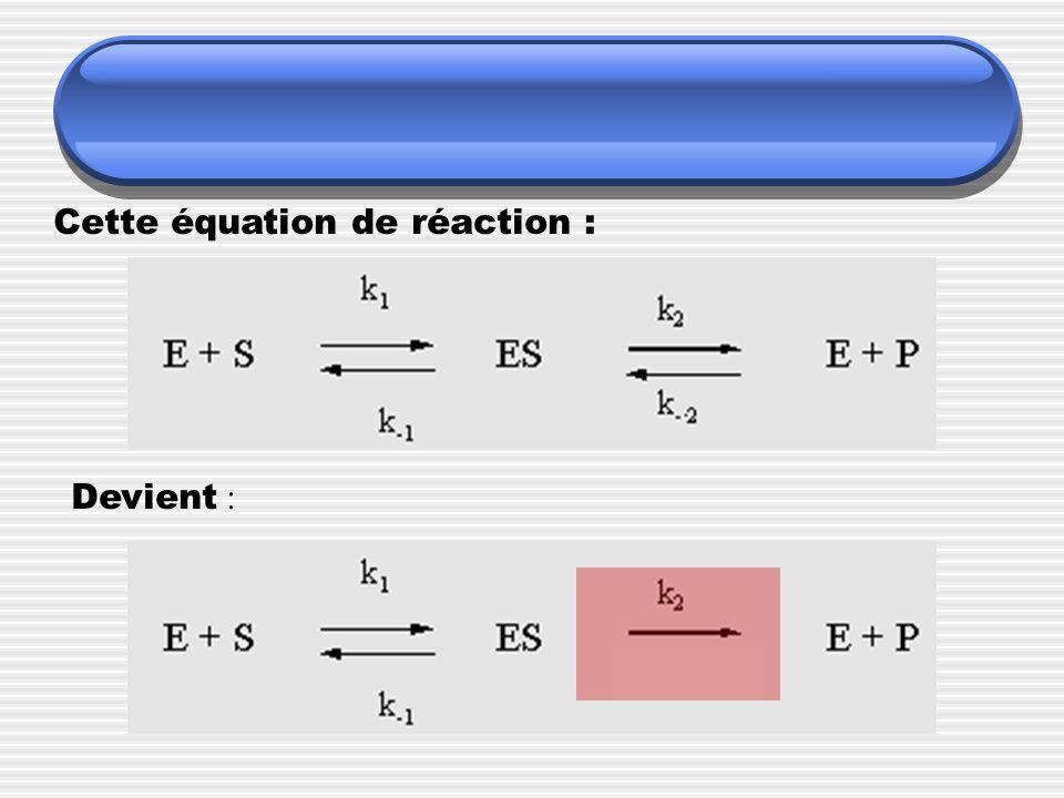 Cette équation de réaction : Devient :