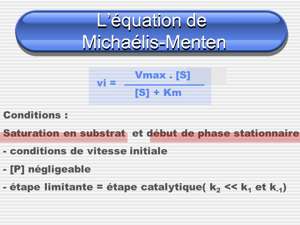 Léquation de Michaélis-Menten vi = Vmax. [S] [S] + Km Conditions : Saturation en substrat et début de phase stationnaire - conditions de vitesse initi