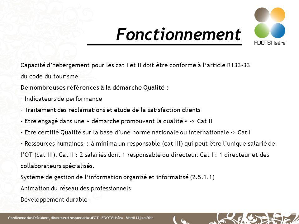 Conférence des Présidents, directeurs et responsables dOT – FDOTSI Isère – Mardi 14 juin 2011 Procédure de classement Dernière minute : nous sommes en attente dun décret annonçant que les nouveaux classements devront désormais se faire sur les nouveaux critères.